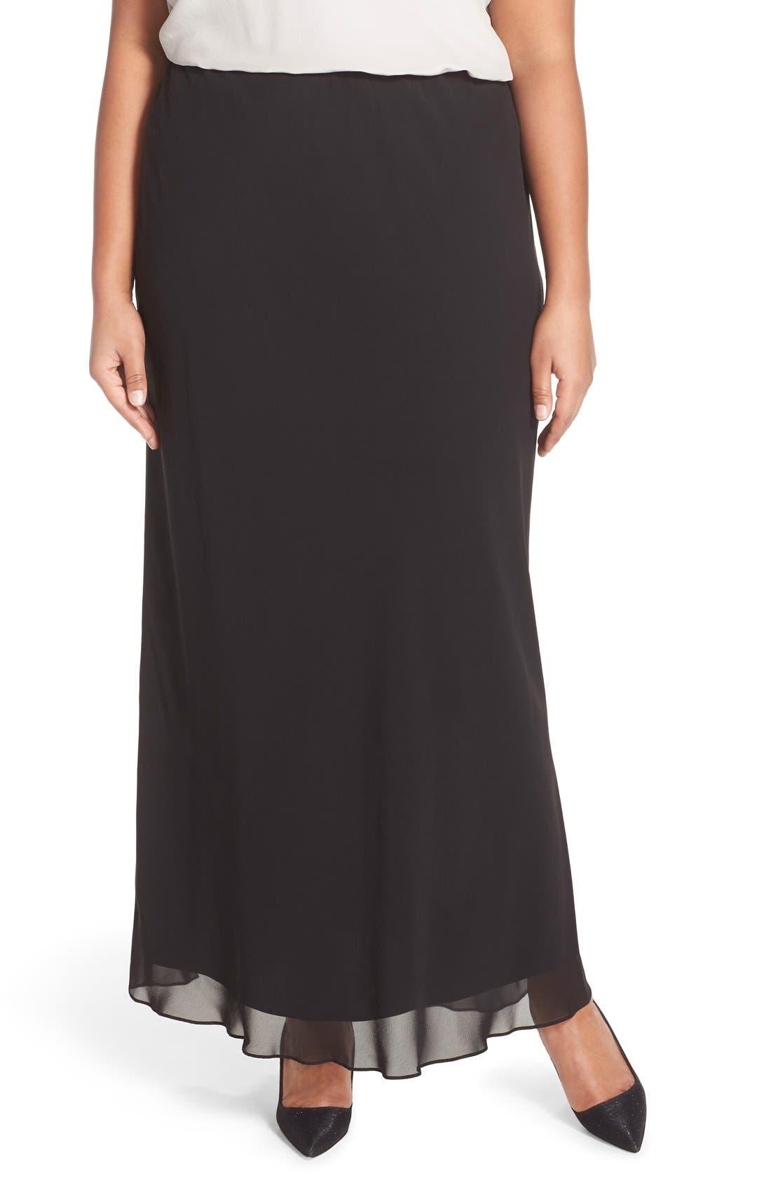 Victorian Skirts | Bustle, Walking, Edwardian Skirts Plus Size Womens Alex Evenings Chiffon Maxi Skirt $47.40 AT vintagedancer.com