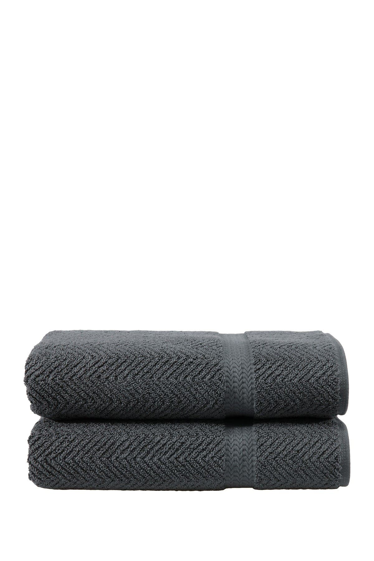 Image of LINUM HOME Grey Herringbone Bath Towels - Set of 2