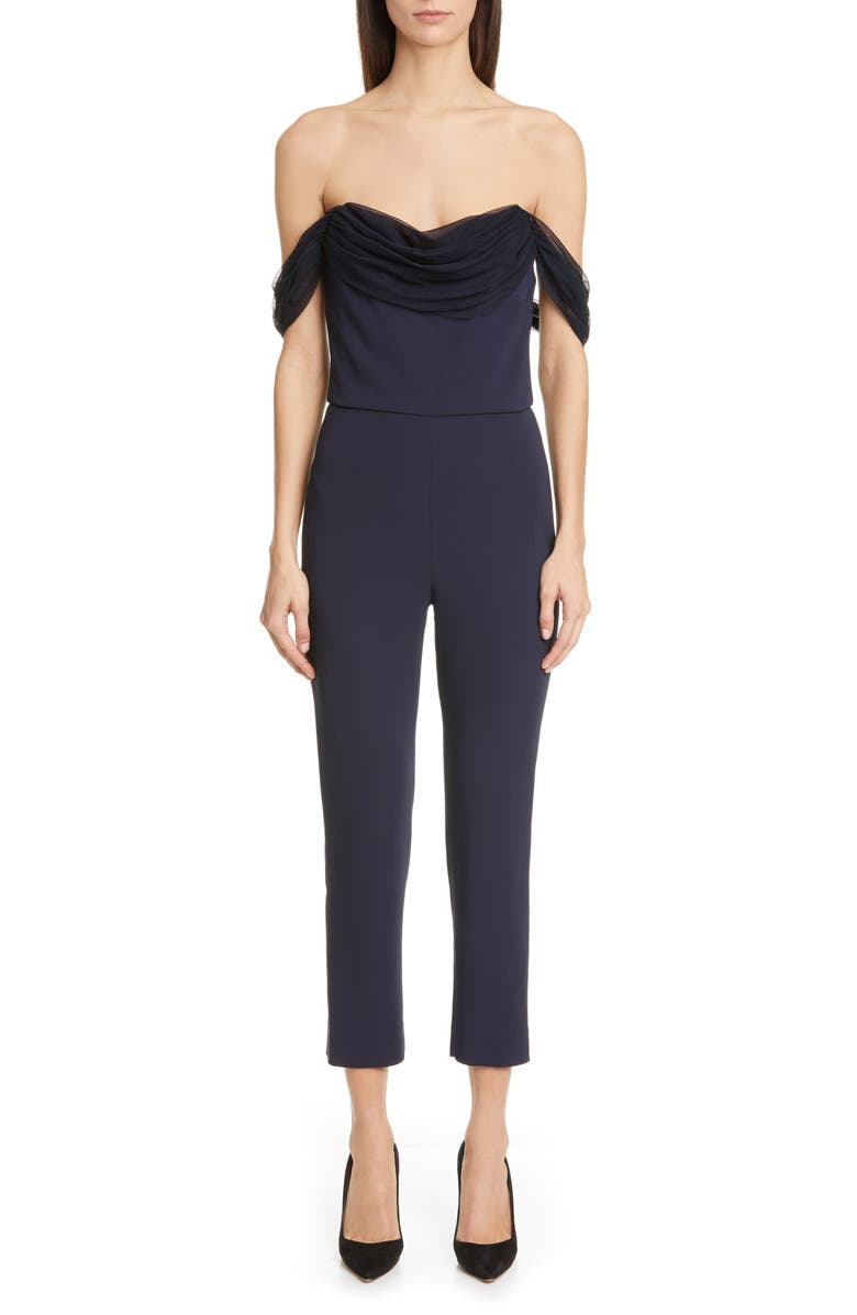 CUSHNIE Strapless Skinny Crop Jumpsuit, Main, color, 412