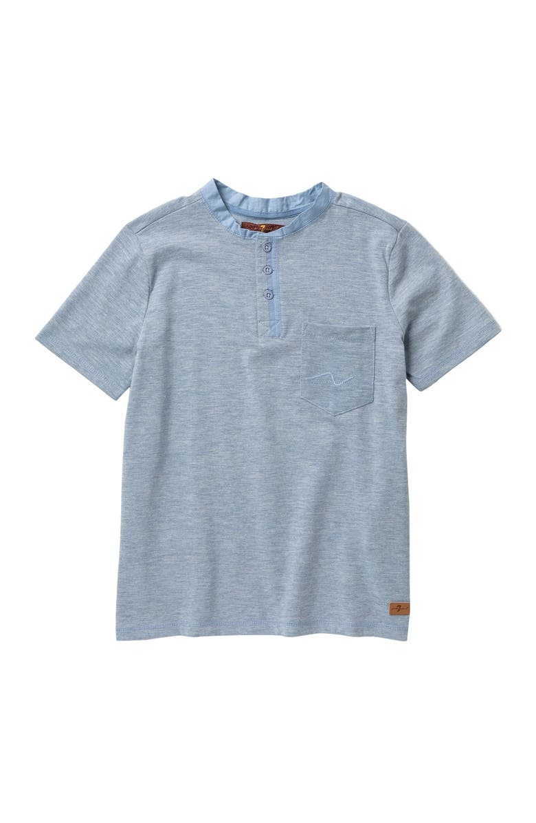 7 FOR ALL MANKIND Short Sleeve Slub Jersey Henley, Main, color, HEATHER BLUES