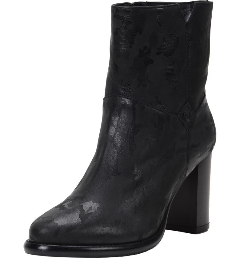 ROSS & SNOW Renata Weatherproof Genuine Shearling Lined Bootie, Main, color, BLACK CAMO LEATHER