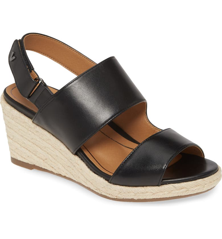 VIONIC Brooke Wedge Sandal, Main, color, BLACK