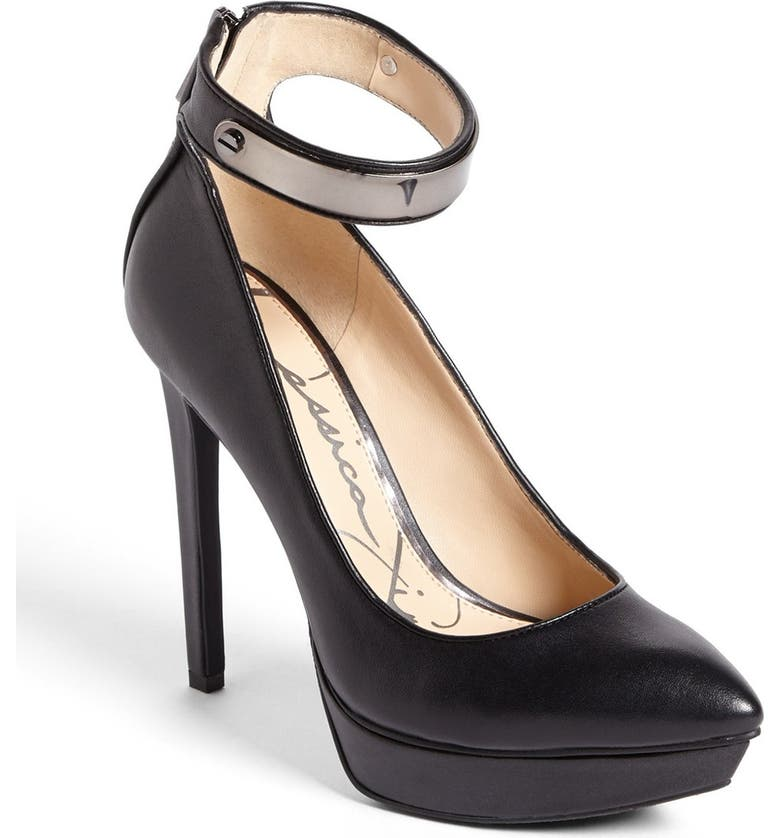 JESSICA SIMPSON 'Violla' Ankle Strap Pointy Toe Pump, Main, color, 002