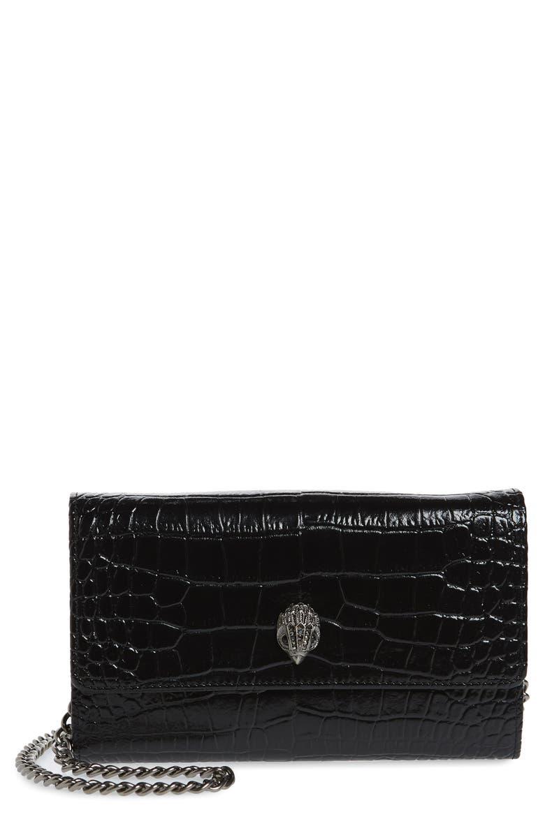 KURT GEIGER LONDON Kensington Leather Wallet on a Chain, Main, color, BLACK