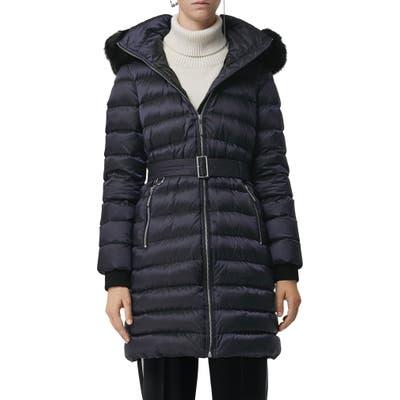 Burberry Limefield Genuine Shearling Hood Puffer Coat, Blue