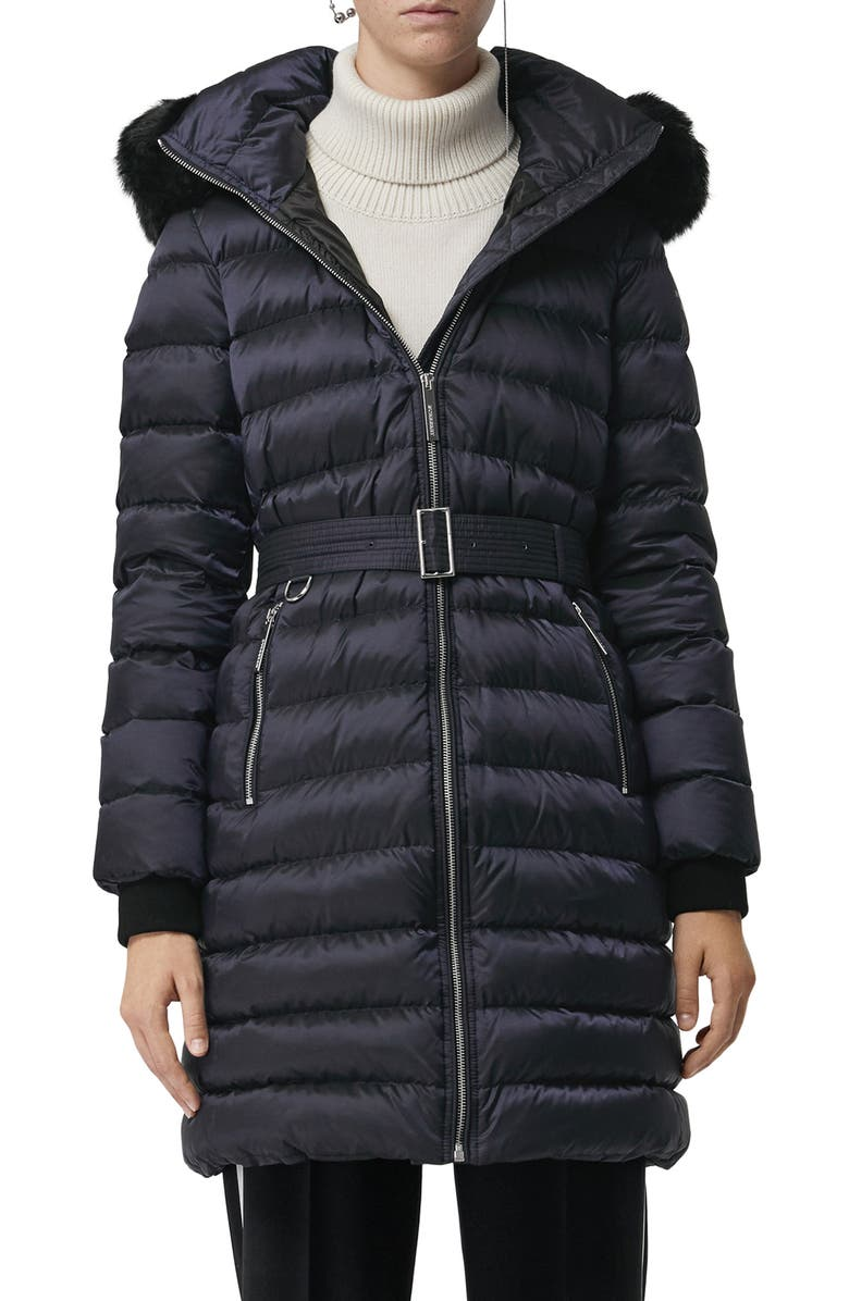 BURBERRY Limefield Genuine Shearling Hood Puffer Coat, Main, color, NAVY
