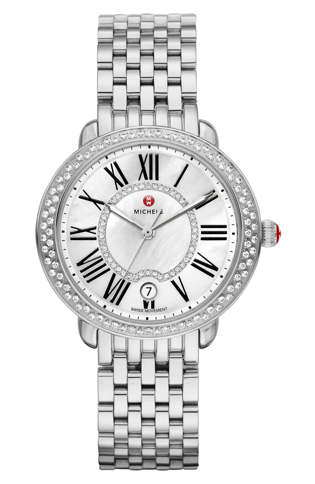 ,                             Serein 16 Diamond Watch Case, 34mm x 36mm,                             Alternate thumbnail 3, color,                             SILVER/ WHITE