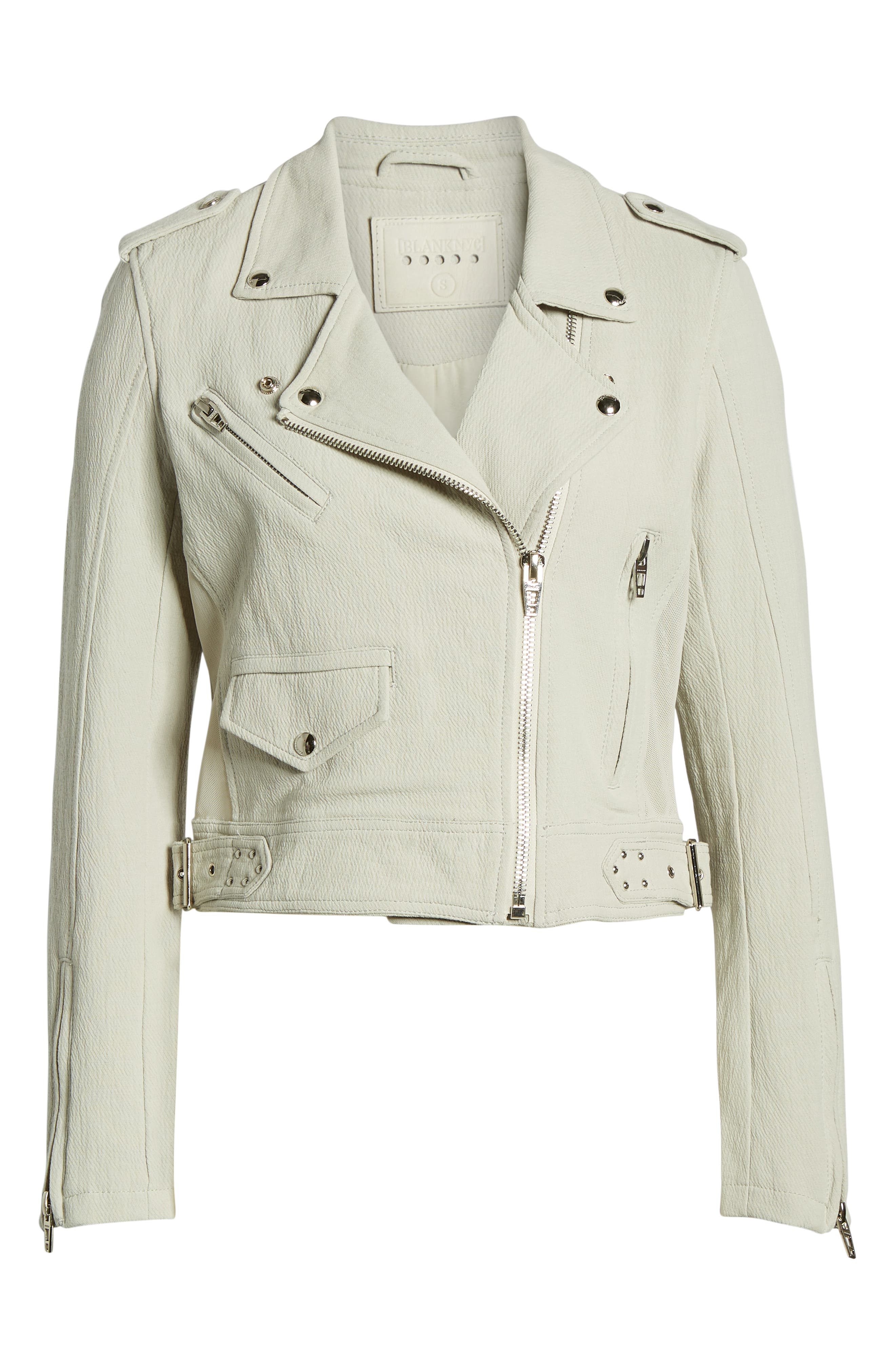 ,                             Textured Cotton Moto Jacket,                             Alternate thumbnail 7, color,                             LIGHT GREY