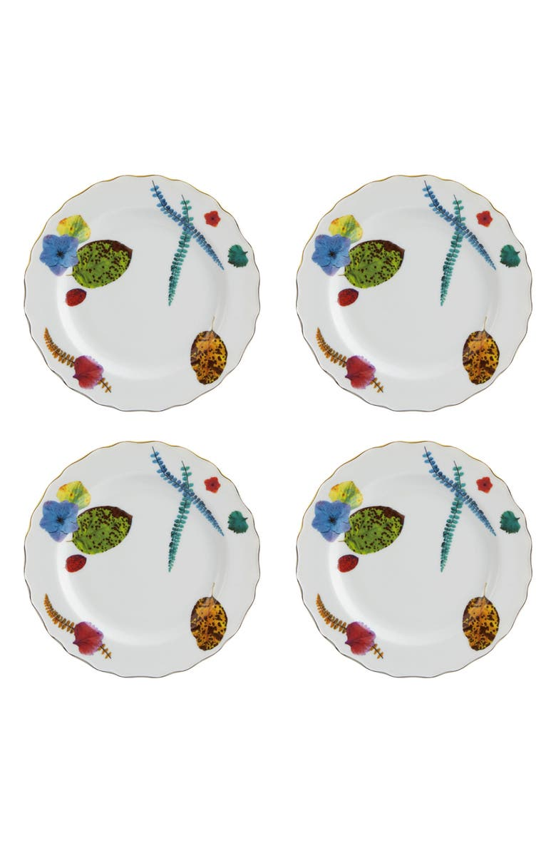 CHRISTIAN LACROIX Caribe Set of 4 Bread & Butter Plates, Main, color, WHITE