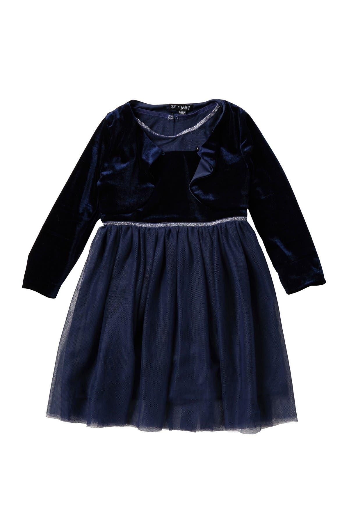Image of AVA AND YELLY Tutu Dress & Velvet Cardigan Set