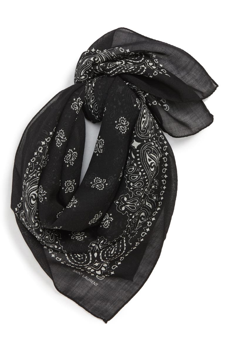 SAINT LAURENT Bandana Print Wool Scarf, Main, color, 001