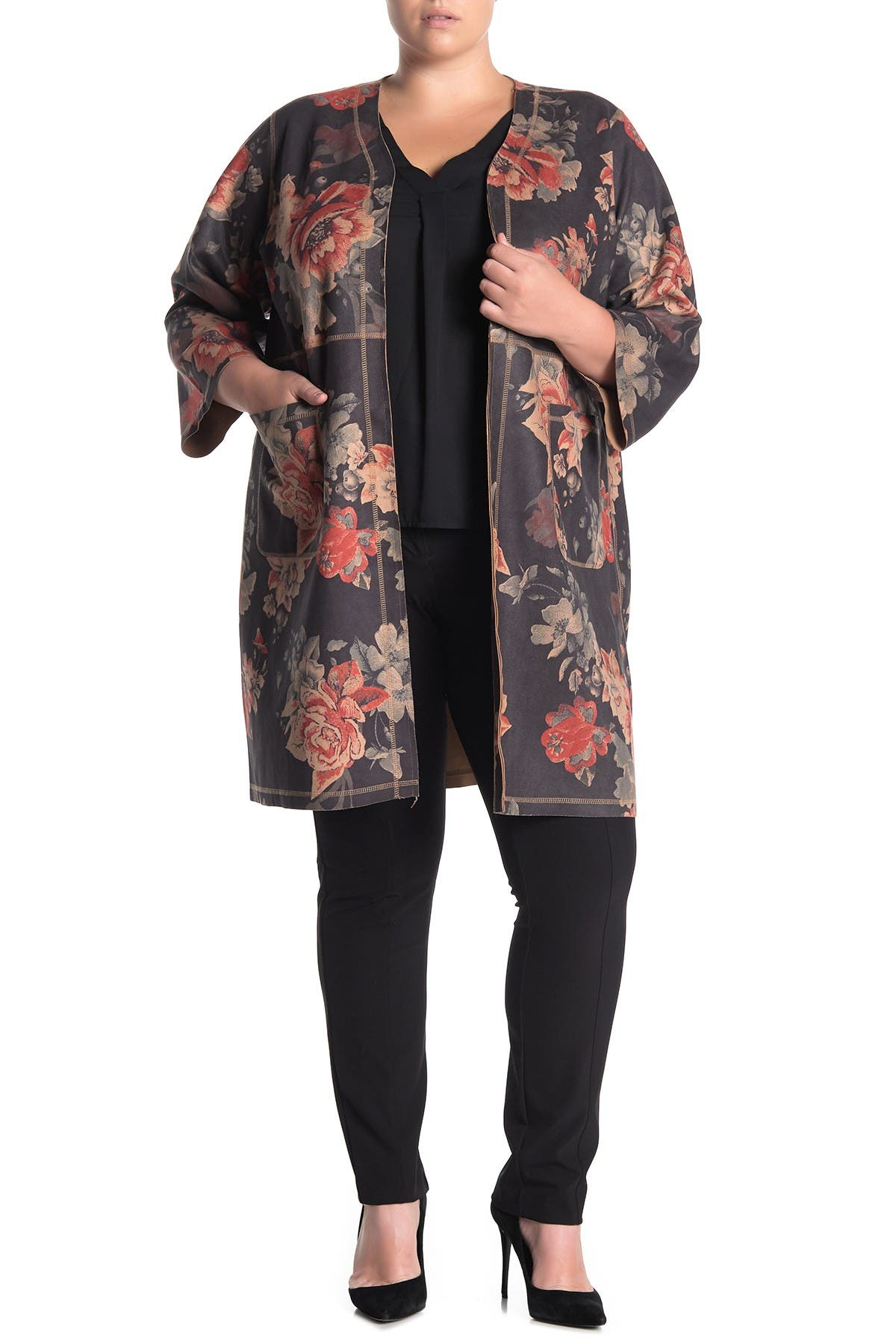Image of T Tahari Floral Print Faux Suede Topper
