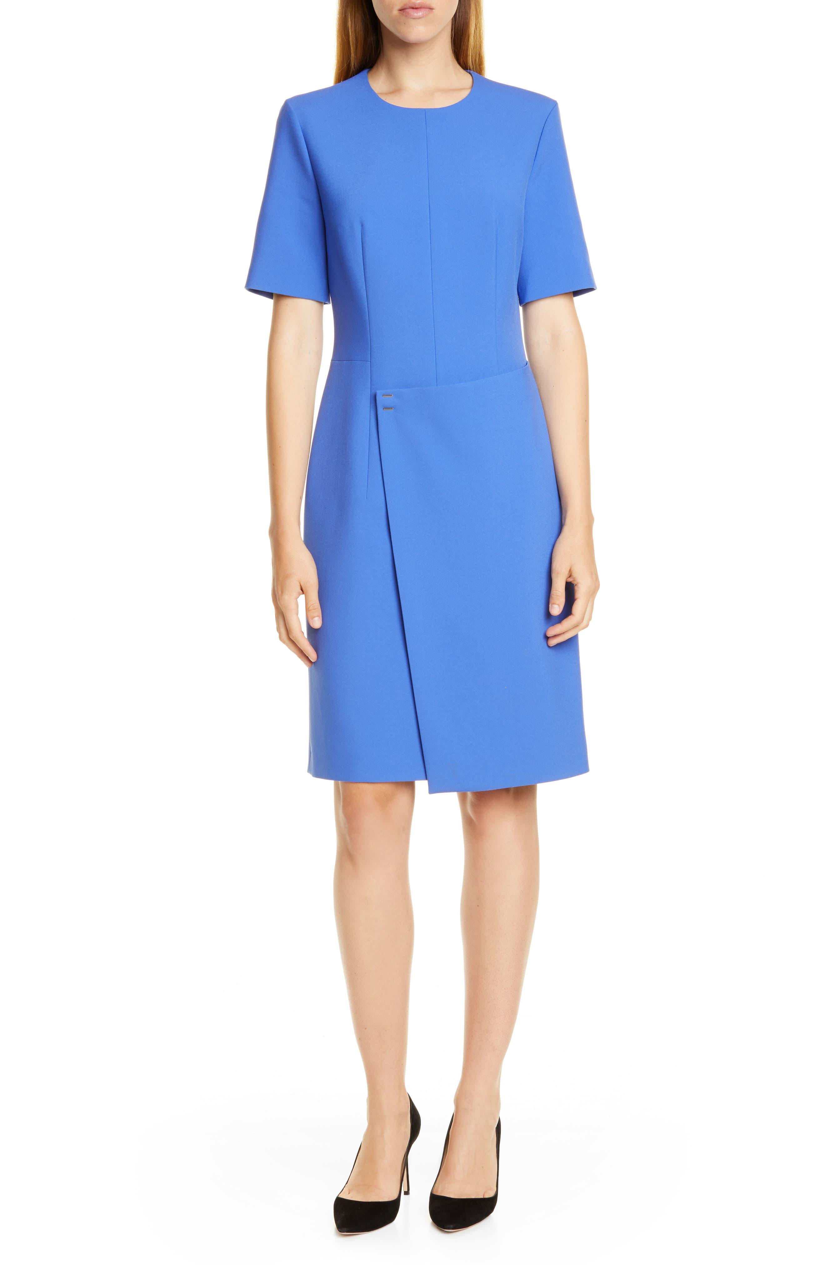 Petite Boss Disula Ponte Dress, Blue