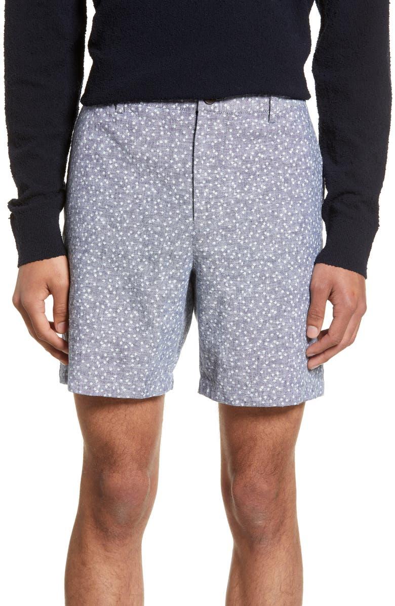 CLUB MONACO Baxter Slim Fit Floral Print Linen Blend Shorts, Main, color, 410