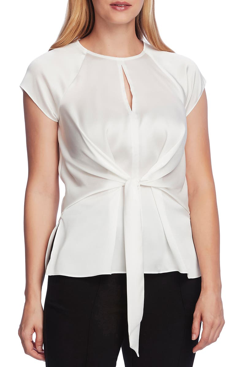 VINCE CAMUTO Tie Front Satin Charmeuse Keyhole Blouse, Main, color, NEW IVORY