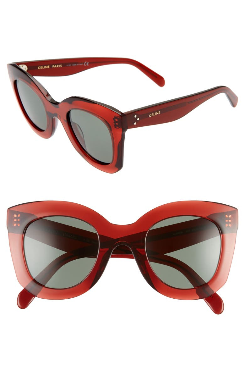 CELINE 47mm Cat Eye Sunglasses, Main, color, RED/GREEN