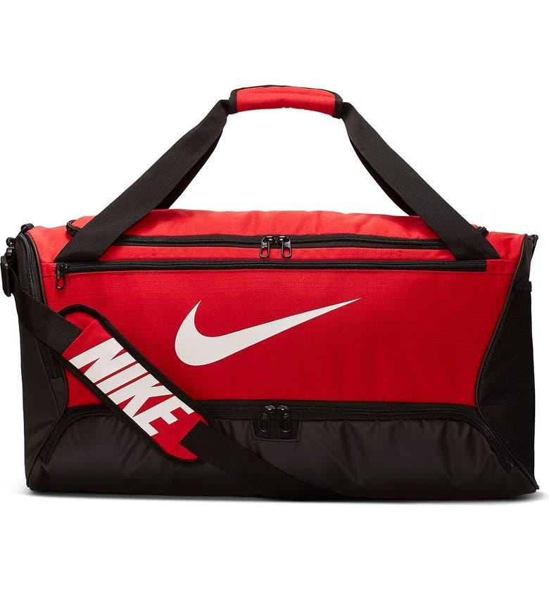 NIKE Men's Brasilia Duffle Bag, Main, color, UNVRED/WHITE