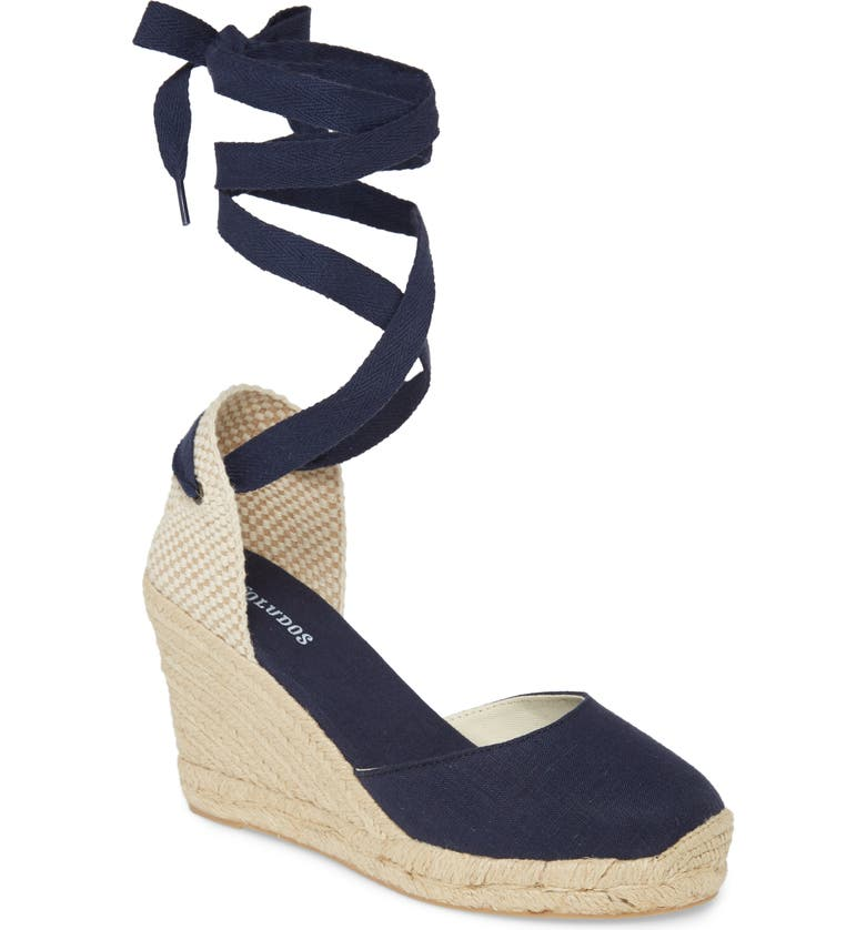 SOLUDOS Wedge Lace-Up Espadrille Sandal, Main, color, MIDNIGHT BLUE