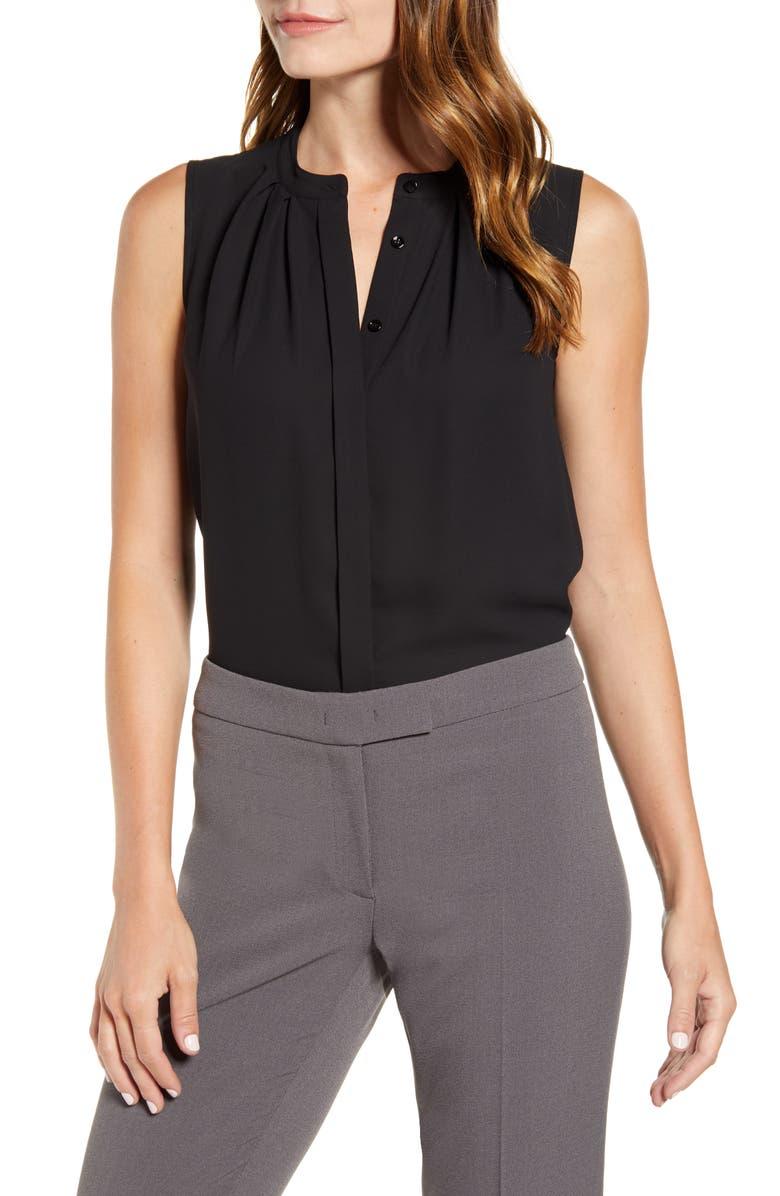 ANNE KLEIN Pleated Sleeveless Top, Main, color, ANNE BLACK