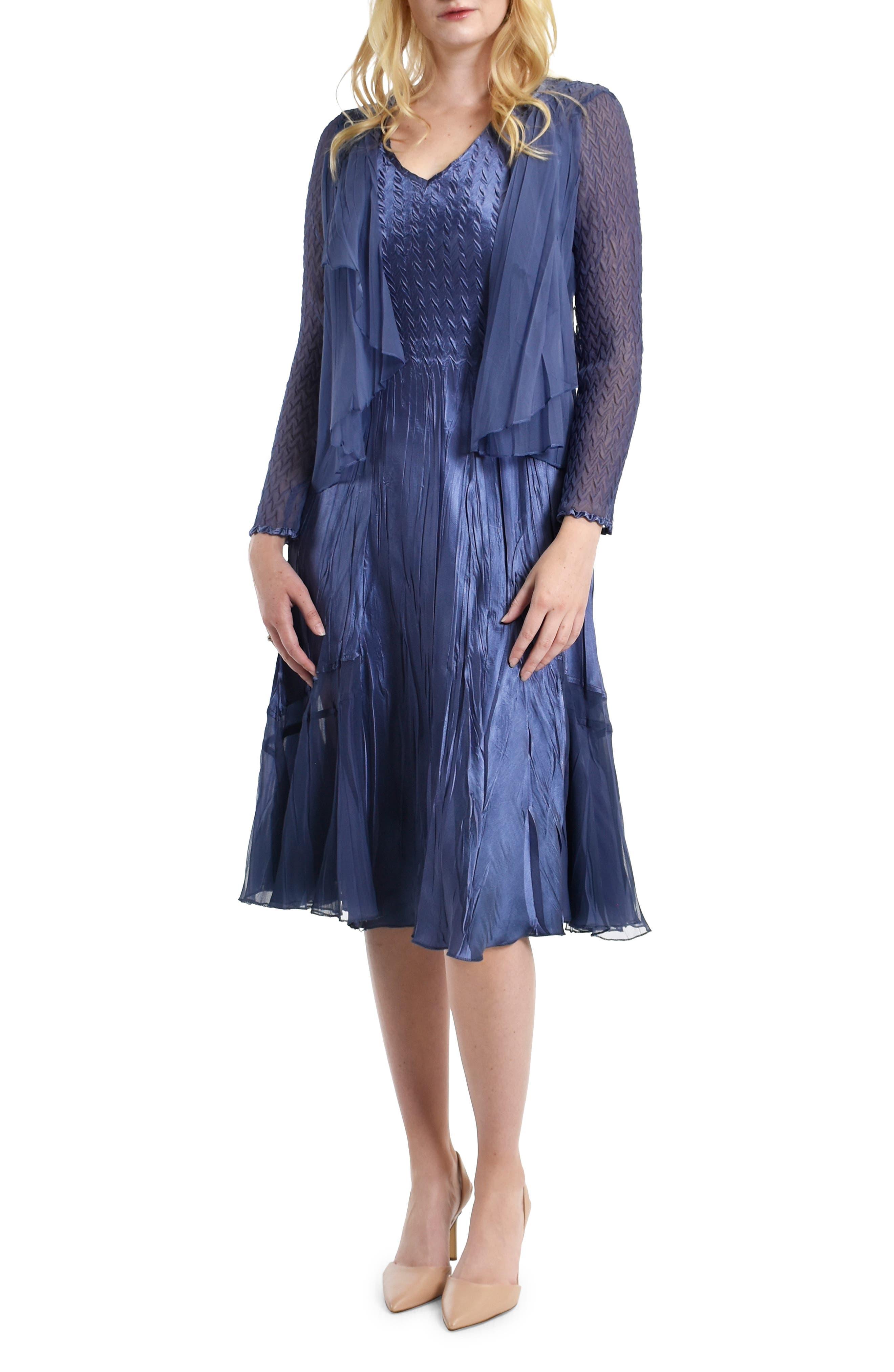 Charmeuse Dress With Chiffon Jacket