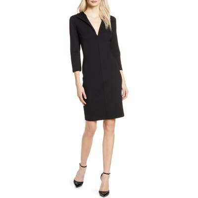 French Connection V-Neck Body-Con Dress, Black