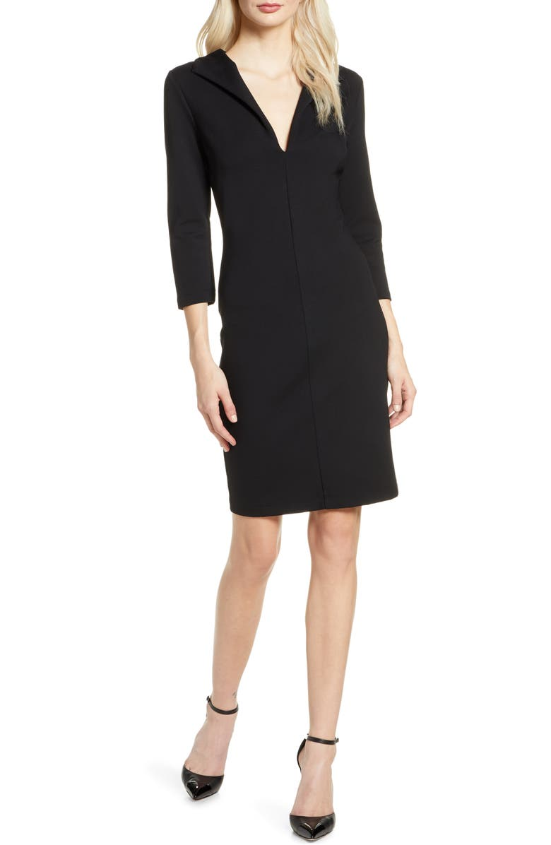 FRENCH CONNECTION V-Neck Body-Con Dress, Main, color, BLACK