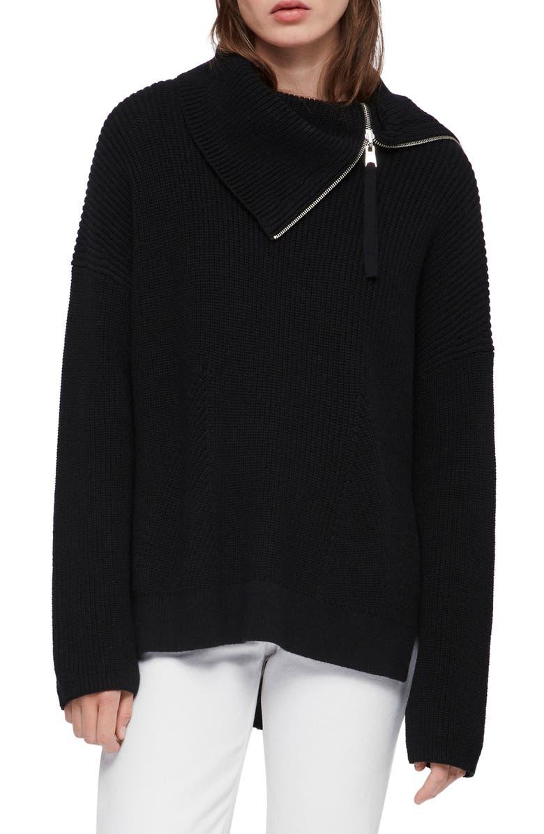 ALLSAINTS Kadine Funnel Neck Sweater, Main, color, BLACK