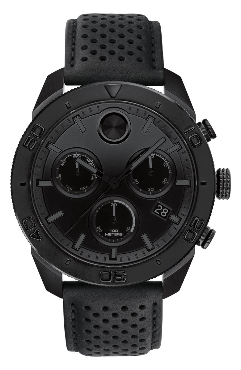 MOVADO Bold Sport Chronograph Leather Strap Watch, 44mm, Main, color, BLACK