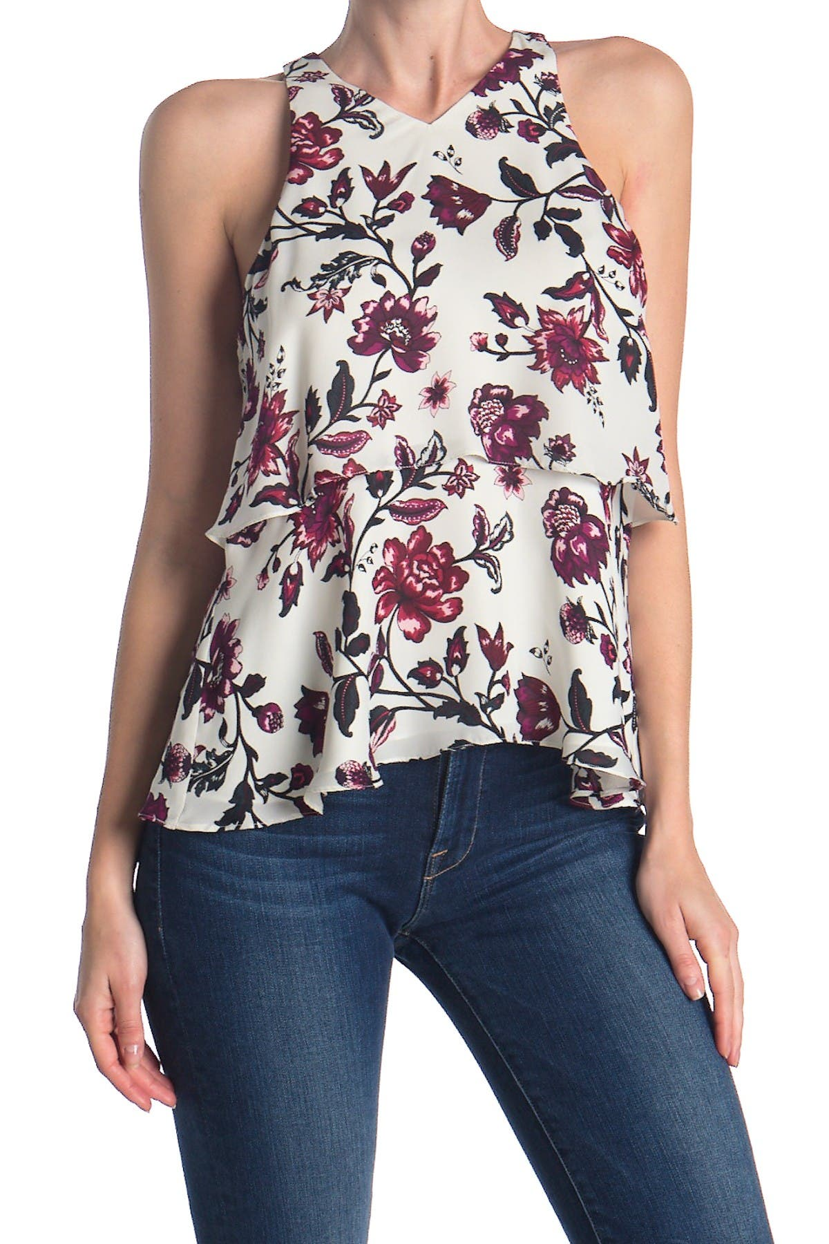 Image of A.L.C. Dural Floral Popover Sleeveless Silk Blouse