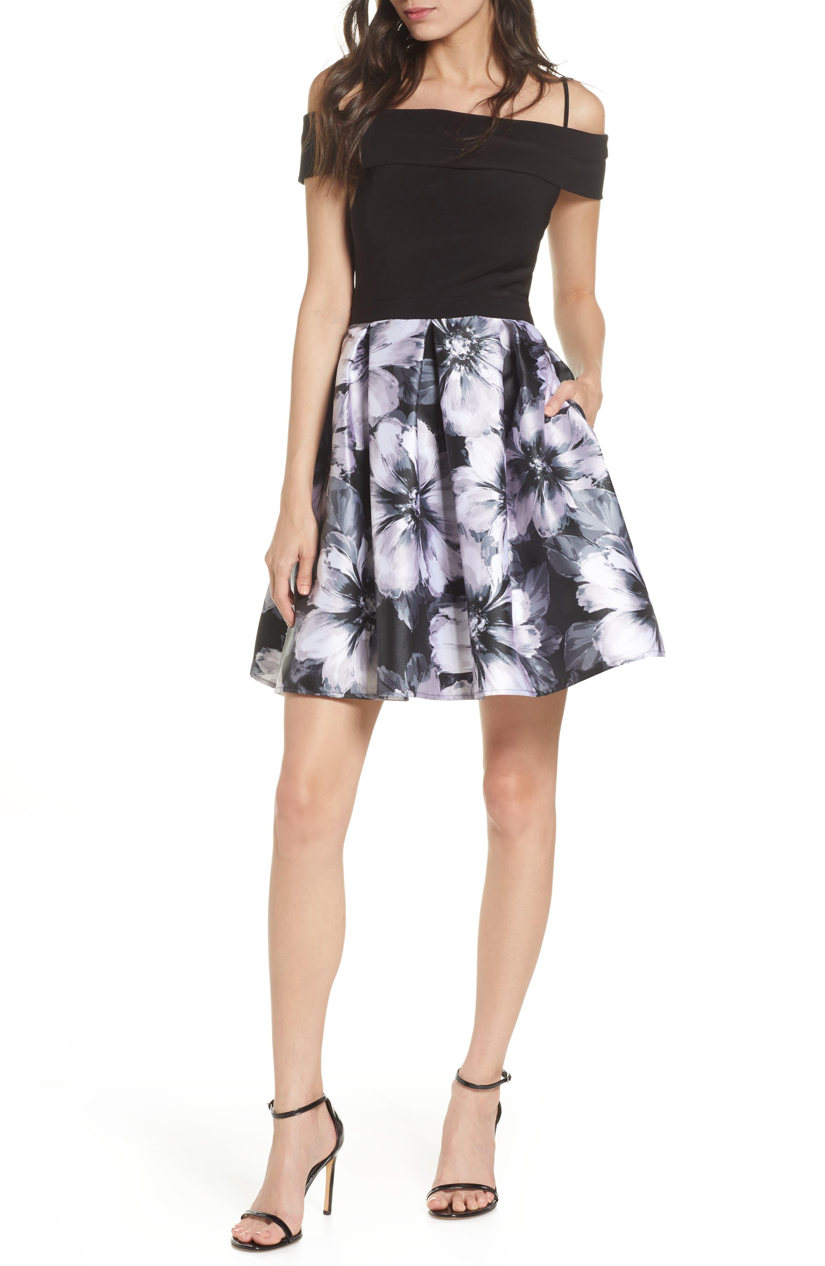 Morgan & Co. Cold Shoulder Fit & Flare Dress, Black