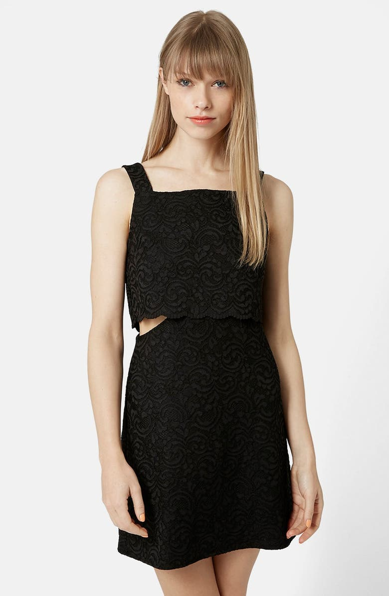 TOPSHOP Scallop Overlay Lace Dress, Main, color, 001
