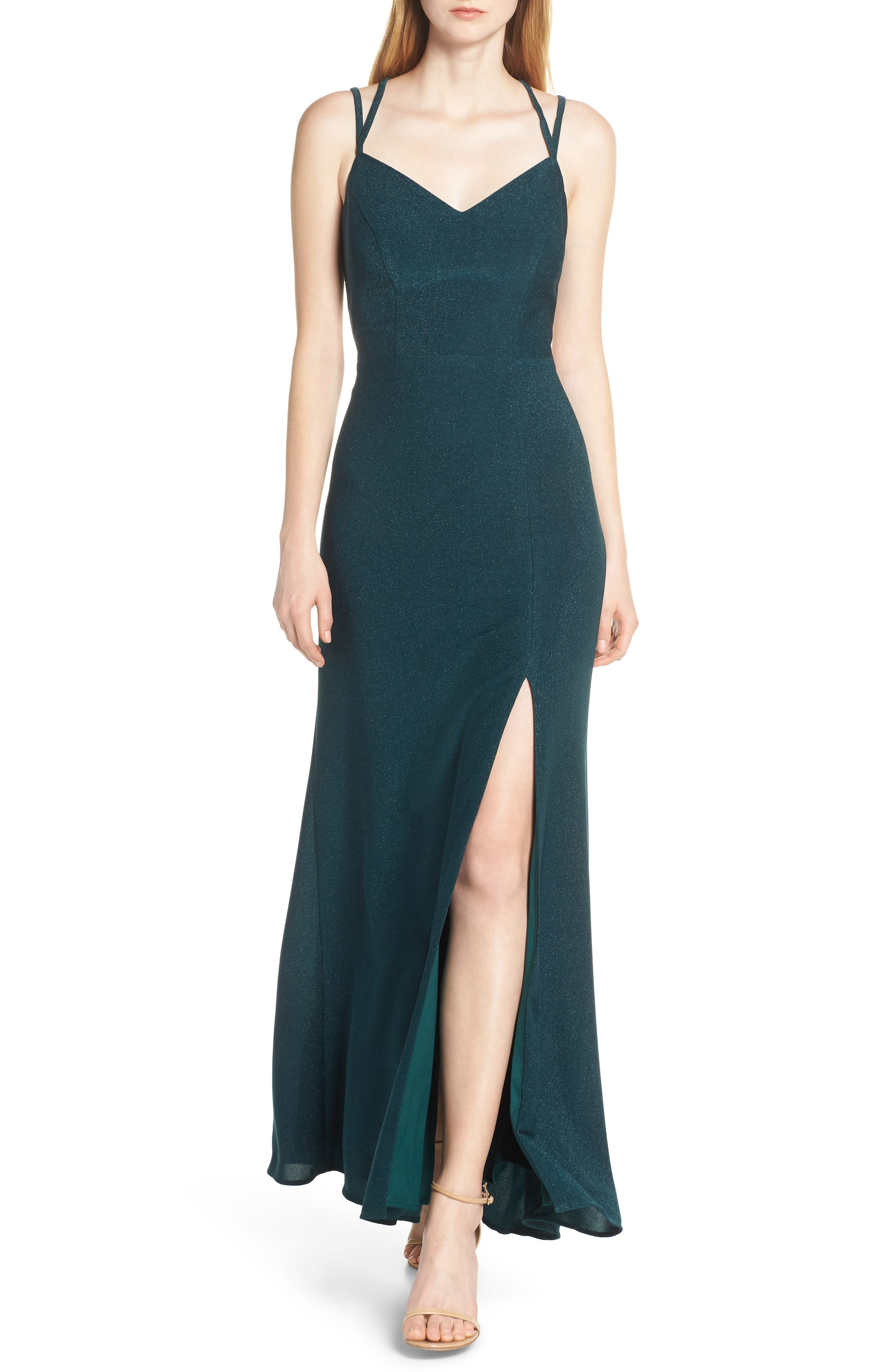Morgan & Co. Strappy Glitter Knit Evening Dress, Green