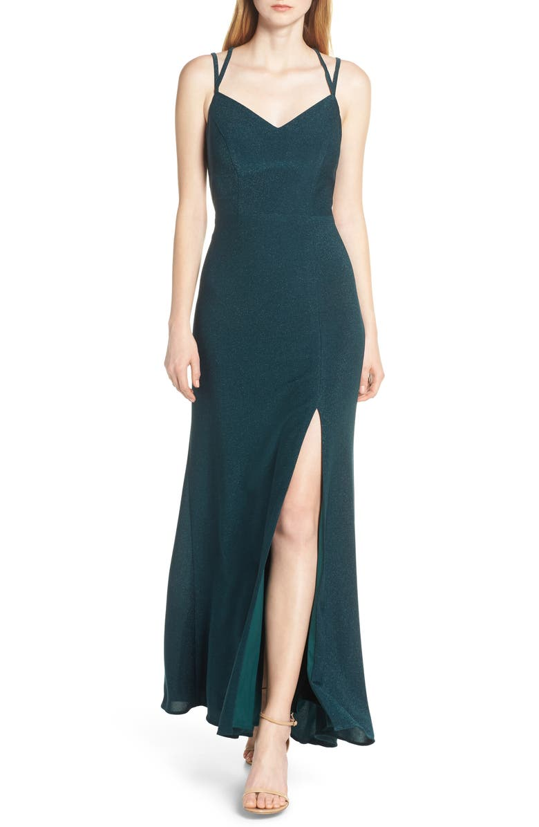 MORGAN & CO. Strappy Glitter Knit Evening Dress, Main, color, 301