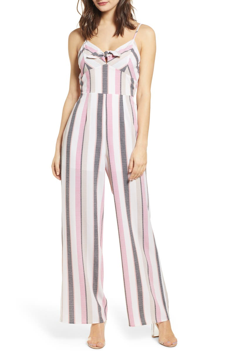 ROW A Tie Front Jumpsuit, Main, color, 900