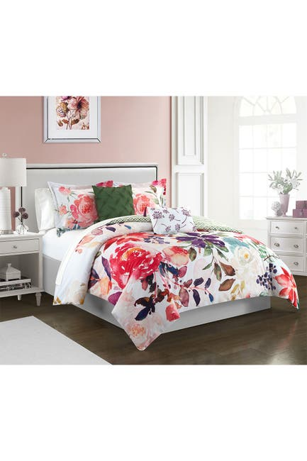 Image of Chic Home Bedding King Phillie Watercolor Floral Print With Geometric Leaf Pattern On The Reverse Comforter 5-Piece Set - Multi Color