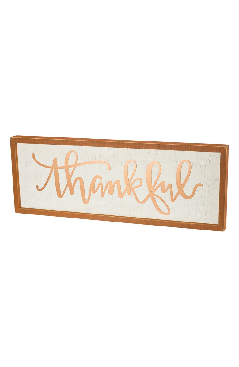 PRIMITIVES BY KATHY Thankful Inset Box Sign, Main, color, IVORY