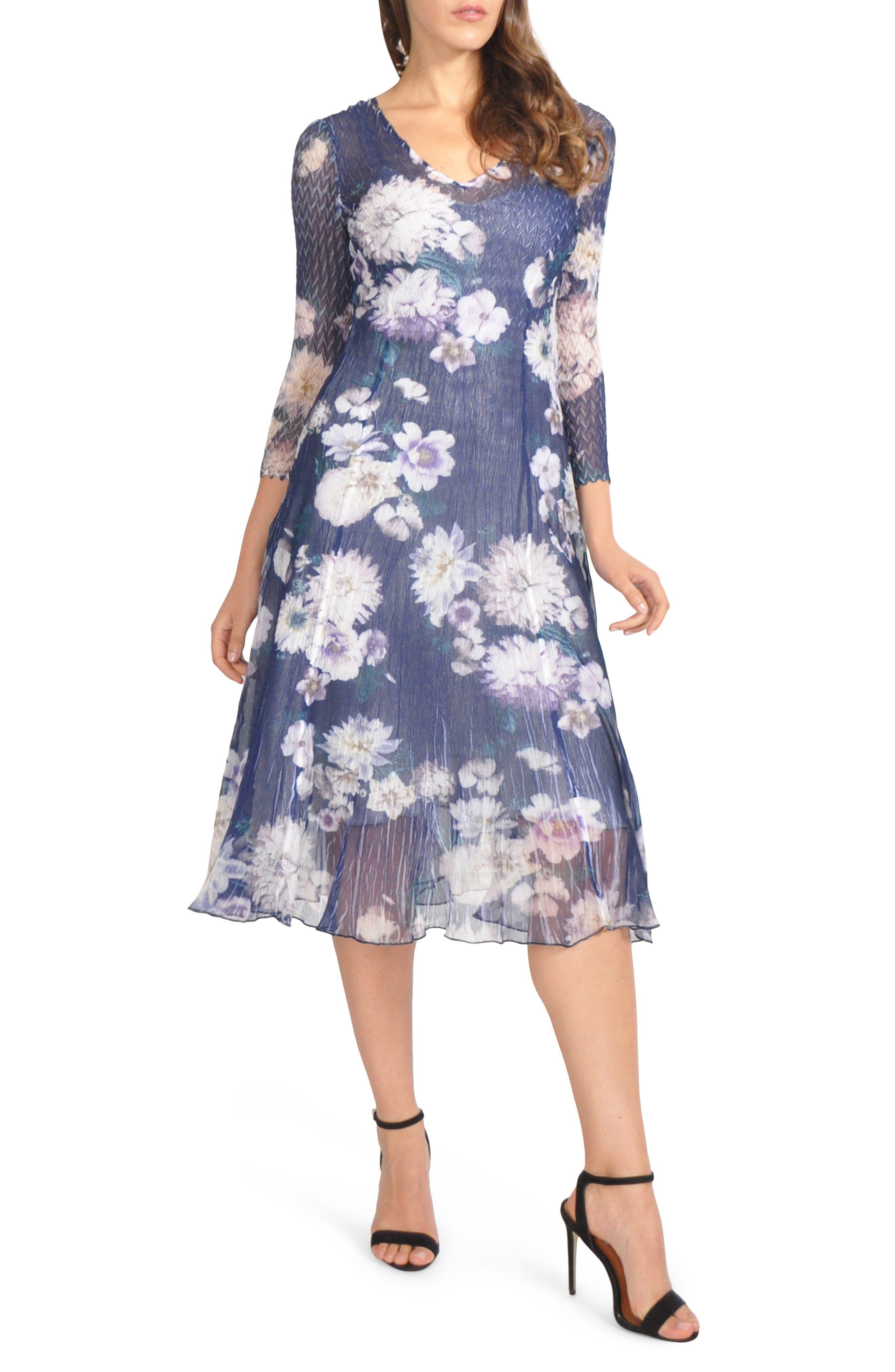Petite Komarov Chiffon & Charmeuse A-Line Dress, Blue