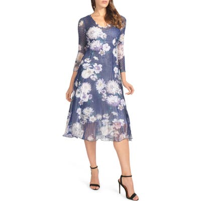 Petite Komarov Chiffon & Charmeuse A-Line Dress, Blue