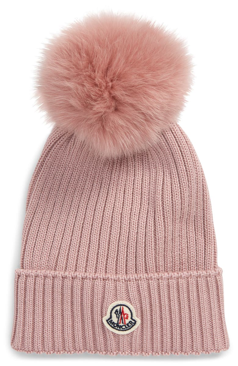 MONCLER Berretto Wool Beanie with Genuine Fox Fur Pom, Main, color, 680