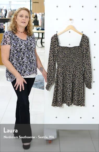 Smocked Bodice Long Sleeve Minidress, sales video thumbnail