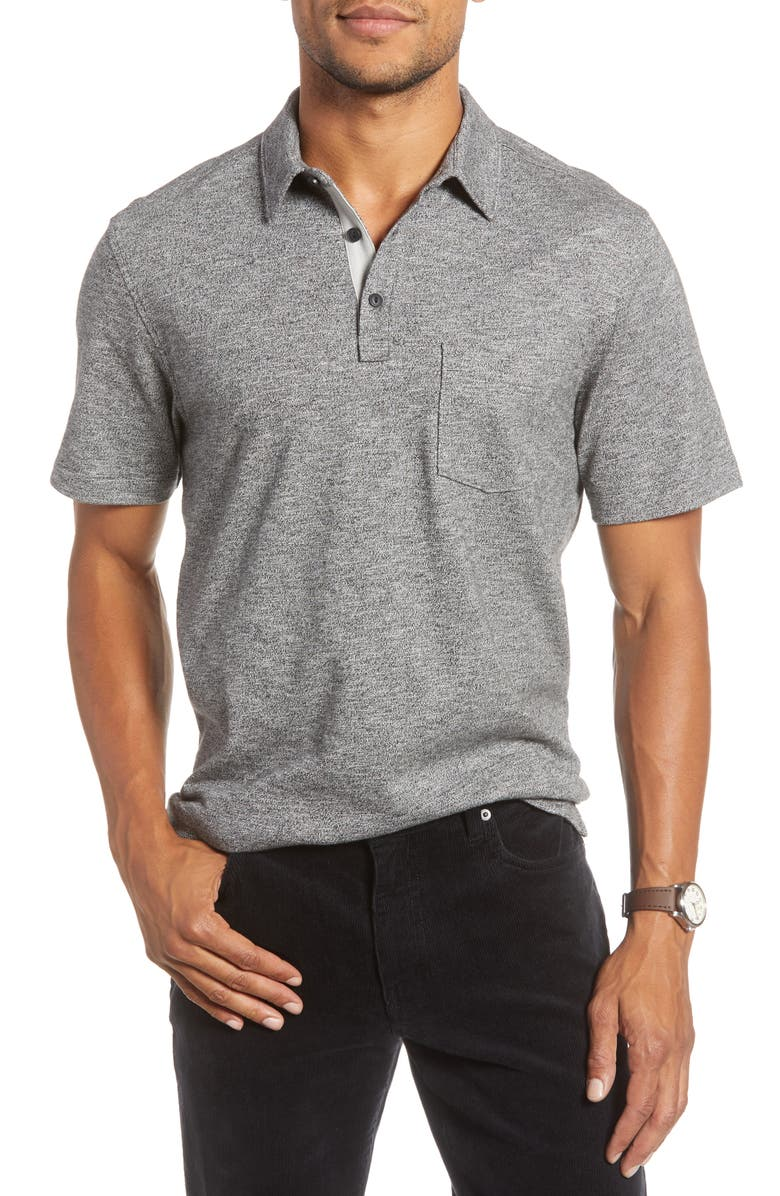 1901 Core Cotton Polo Shirt, Main, color, BLACK CAVIAR MELANGE