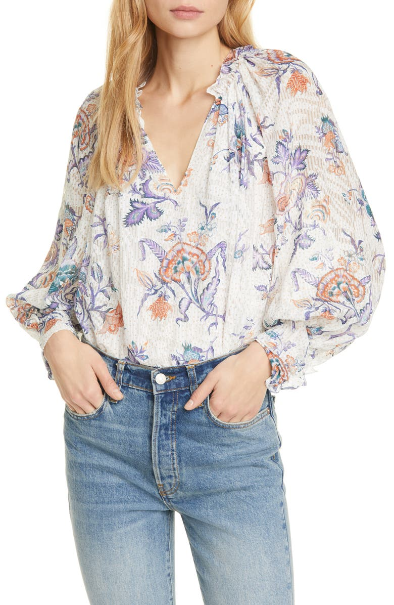 REBECCA TAYLOR Floral Print Toile Top, Main, color, SNOW COMBO