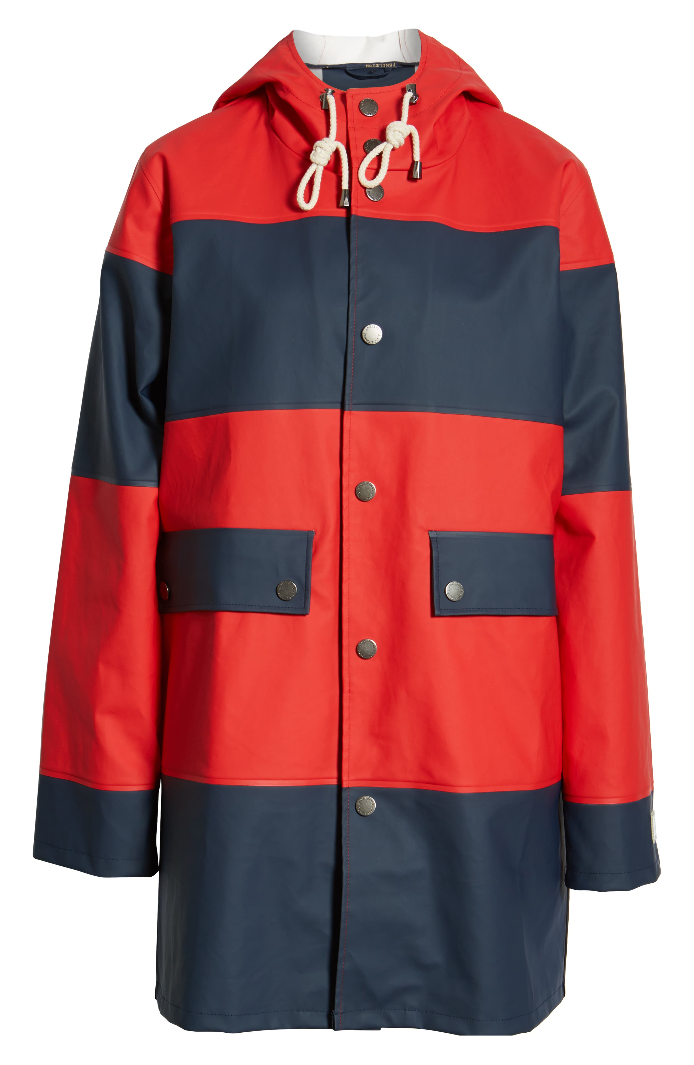 ,                             Seaside Hooded Rain Jacket,                             Alternate thumbnail 7, color,                             RED/ NAVY