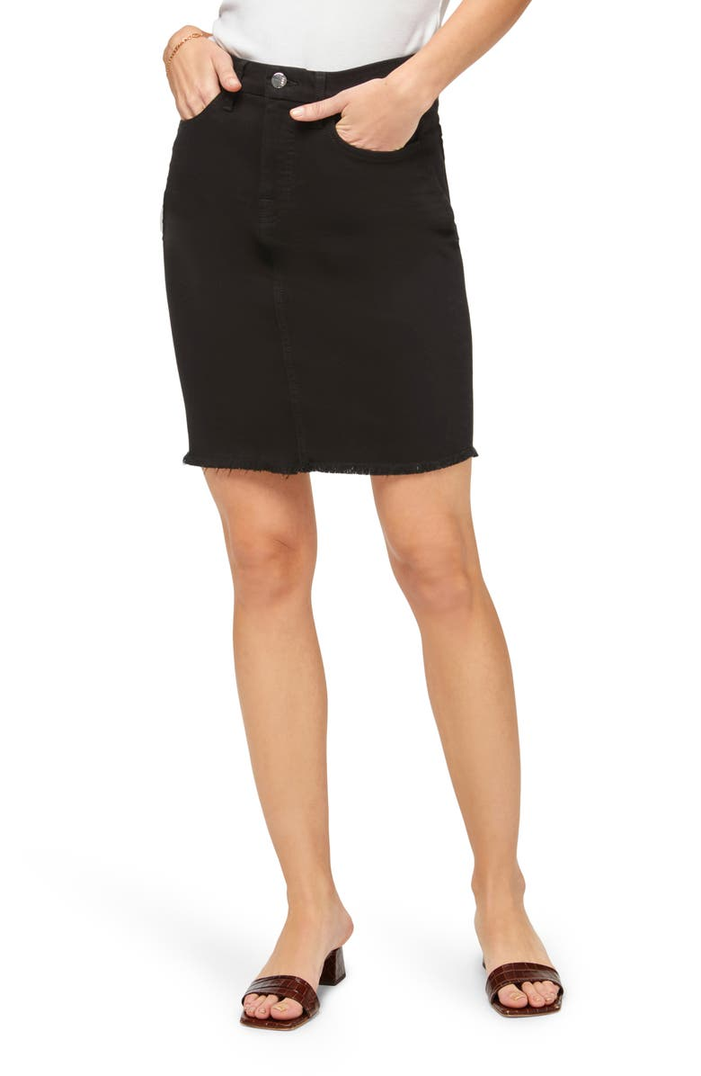 JEN7 by 7 For All Mankind Denim Pencil Skirt, Main, color, BLACK