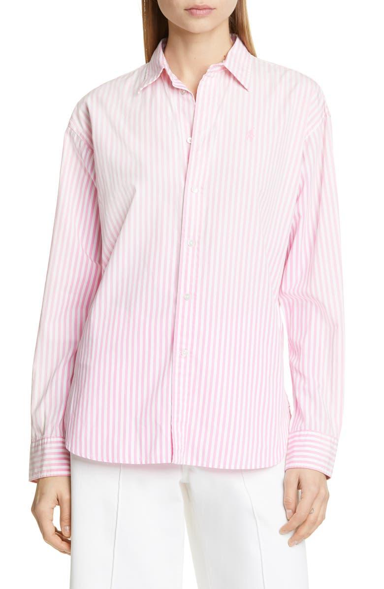 1943ec0a71d715 Ellen Crest Logo Stripe Blouse, Main, color, 112C PINK/ WHITE