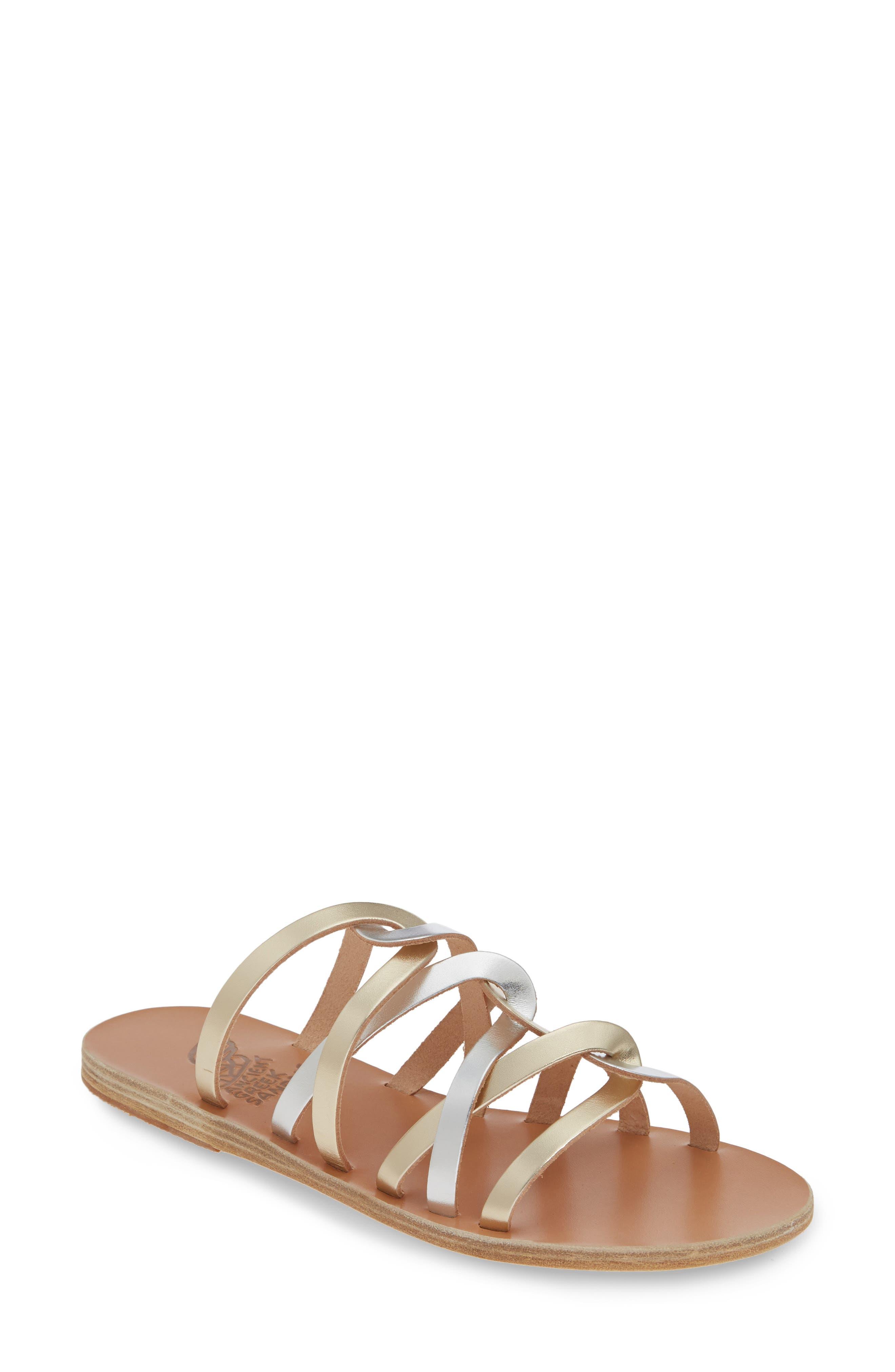 Donousa Slide Sandal, Main, color, SILVER/ PLATINUM