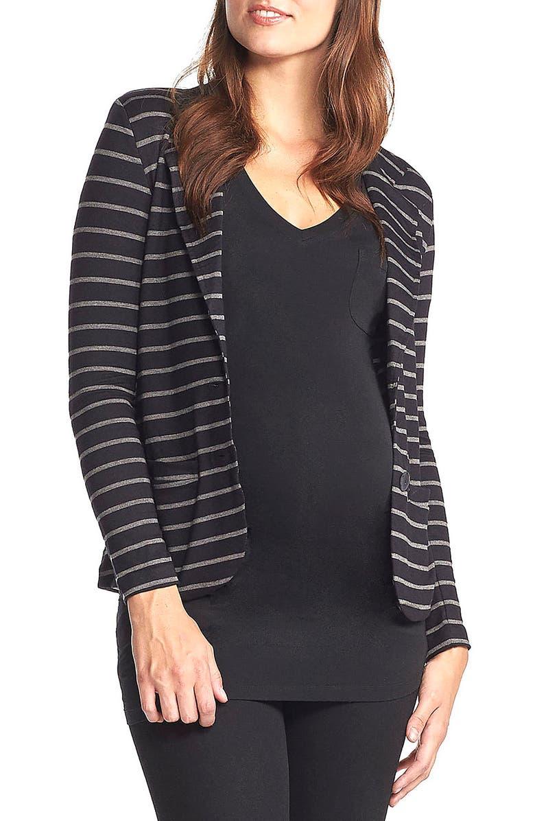 TART MATERNITY 'Essential' Maternity Blazer, Main, color, BLACK/ GREY STRIPE