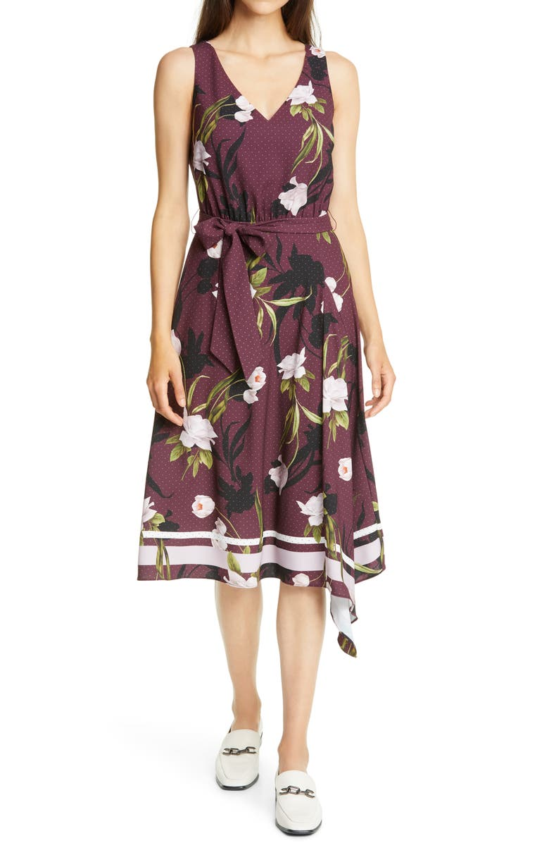 TED BAKER LONDON Alyan Elderflower Print Asymmetrical Dress, Main, color, OXBLOOD