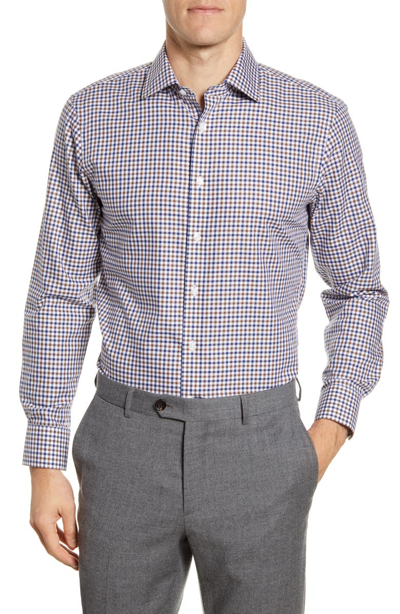 THE TIE BAR Trim Fit Gingham Dress Shirt, Main, color, 410