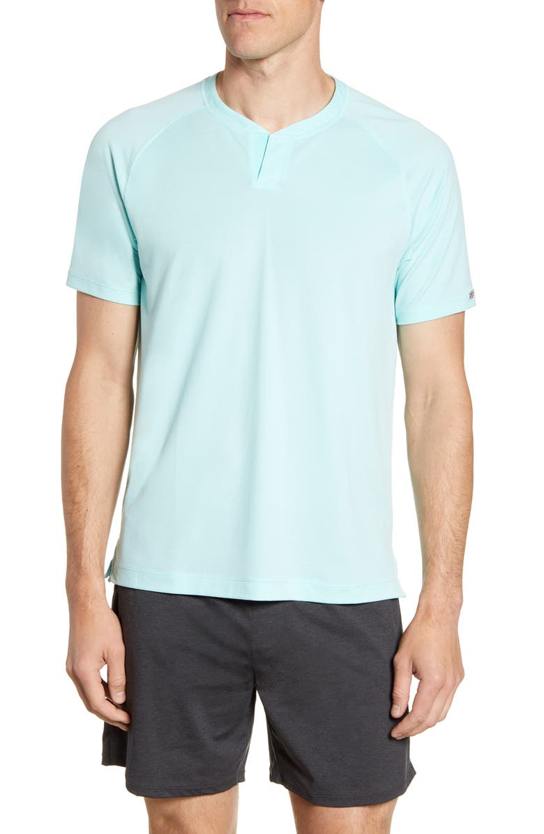 RHONE Notch Performance Piqué T-Shirt, Main, color, ARUBA BLUE
